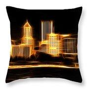 Portland Oregon Skyline  Throw Pillow by Aaron Berg