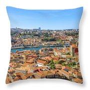 Porto Skyline Portugal Throw Pillow