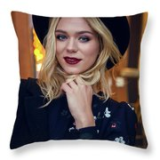 Portrait Of A Girl In Black Clothes And A Hat On The Street In The Evening Throw Pillow