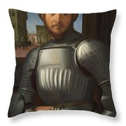 Portrait Of A Man In Armour Throw Pillow