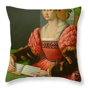 Portrait Of A Woman With A Book Of Music Throw Pillow