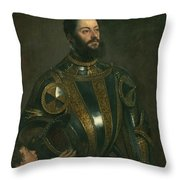 Portrait Of Alfonso D'avalos Marquis Of Vasto In Armor With A Page Throw Pillow