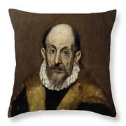 Portrait Of An Old Man Throw Pillow