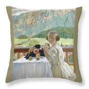 Portrait Of Irina Kustodieva Throw Pillow