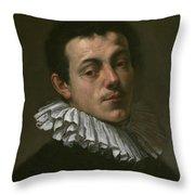 Portrait Of Painter Josef Heintz Throw Pillow