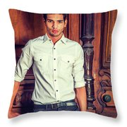 Portrait Of Young Businessman. Throw Pillow