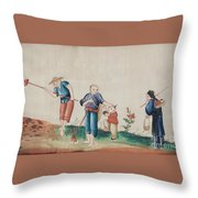 Portraying The Chinese Tea Traders Throw Pillow