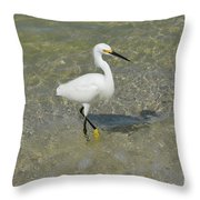 Posing White Egret Bird Throw Pillow
