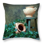 Pottery With Ivy I Throw Pillow by Tom Mc Nemar