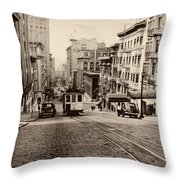 Powell Street Hill - San Francisco 1945 Throw Pillow