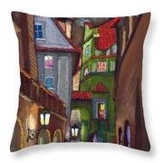 Prague Old Street  Throw Pillow