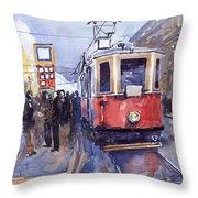 Prague Old Tram 03 Throw Pillow