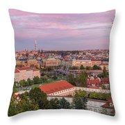 Prague Skyline At Sunset Throw Pillow