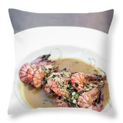 Prawn Shimps In Garlic Butter Olive Oil Throw Pillow