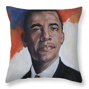 President Barack Obama Throw Pillow by Synnove Pettersen