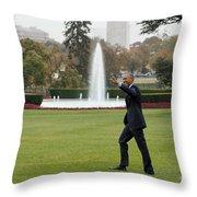 President Obama - White House South Lawn #1 Throw Pillow