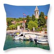 Prvic Luka Island Village Waterfront View Throw Pillow