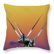 Psychedelic Metal Sculpture Of Two Swans Flying Throw Pillow