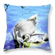 Psychedelic Mute Swan And Cygnet Feeding Throw Pillow
