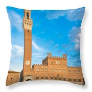 Public Palace With The Torre Del Mangia In Siena, Tuscany Throw Pillow