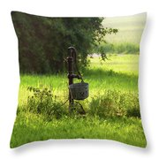 Pump And Bucket Throw Pillow