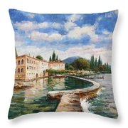 Punta Di San Viglio, Lago Di Garda Throw Pillow