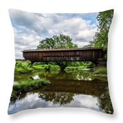 Quiet Serenity Of A Ohio Backcountry Covered Bridege Throw Pillow