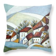 Quiet Village Throw Pillow