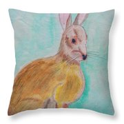 Rabbit Illustration Throw Pillow