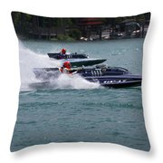 Racing Hydroplanes Boats On The Detroit River For Gold Cup Throw Pillow