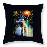Rainy Walk With Daddy Throw Pillow