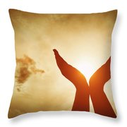 Raised Hands Catching Sun On Sunset Sky. Concept Of Spirituality, Wellbeing, Positive Energy Throw Pillow