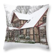 Ramlosa Brunnspark House In Winter Throw Pillow