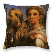 Raphael St Cecilia With Sts Paul John Evangelists Augustine And Mary Magdalene  Throw Pillow