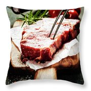 Raw Beef Steak And Wine Throw Pillow
