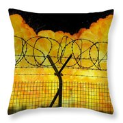 Realistic Orange Fire Explosion Behind Restricted Area Barbed Wire Fence Throw Pillow