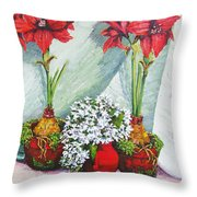 Red Amaryllis With Shooting Star Hydrangea Throw Pillow