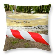 Red And White Barricade Tape Throw Pillow