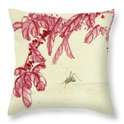 Red Autumnal Leaves Insect Throw Pillow