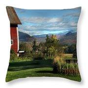 Red Barn In Newbury Vermont Throw Pillow