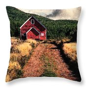 Red Barn Road Throw Pillow