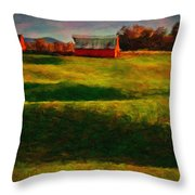 Rolling Hills And Red Barn, Rock Island, Tennessee Throw Pillow