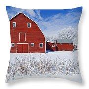 Red Barn, Winter, Grande Pointe Throw Pillow