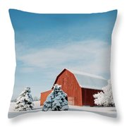 Red Barn With Snow Throw Pillow
