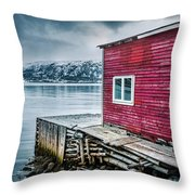 Red Boathouse In Norris Point, Newfoundland Throw Pillow