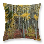 Red Forest Floor Throw Pillow