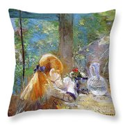 Red-haired Girl Sitting On A Veranda Throw Pillow