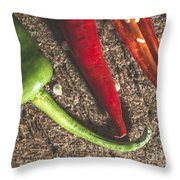 Red Hot Peppers On Wooden  Cutting Board Throw Pillow