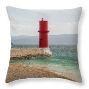 Red Lighthouse Of Cres On A Cloudy Day In Spring Throw Pillow