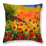 Red Poppies 451 Throw Pillow